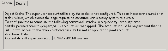 Object Cache: The super user account utilized by the cache is not configured. This can increase the number of cache misses, which causes the page requests to consume unneccesary system resources.