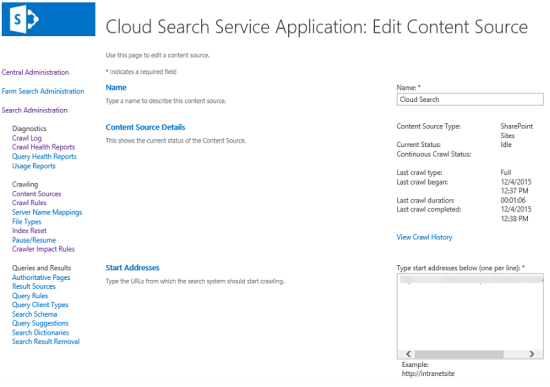 Configure the content source for the cloud search service application