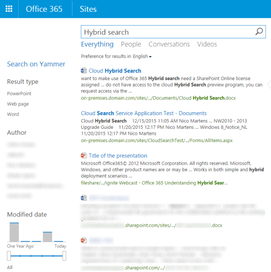 Searching content in Office 365 returning results from both on-premises and SharePoint Online